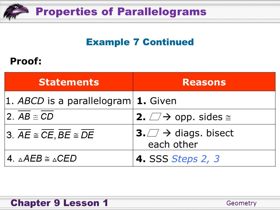 Geometry Chapter 9 Lesson 1 Properties of Parallelograms Example 7 Continued Proof: StatementsReasons 1. ABCD is a parallelogram1. Given 4. SSS Steps