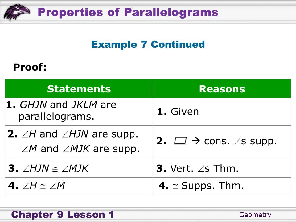 Geometry Chapter 9 Lesson 1 Properties of Parallelograms Example 7 Continued Proof: StatementsReasons 1. GHJN and JKLM are parallelograms. 1. Given 2.