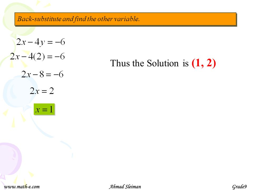 Thus the Solution is (1, 2) Back-substitute and find the other variable.