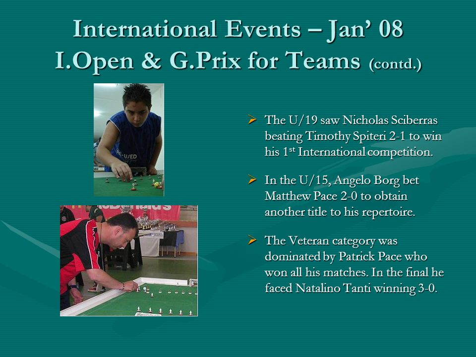 International Events – Jan 08 I.Open & G.Prix for Teams (contd.) The U/19 saw Nicholas Sciberras beating Timothy Spiteri 2-1 to win his 1 st International competition.