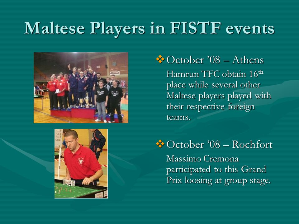 Maltese Players in FISTF events October 08 – Athens Hamrun TFC obtain 16 th place while several other Maltese players played with their respective foreign teams.