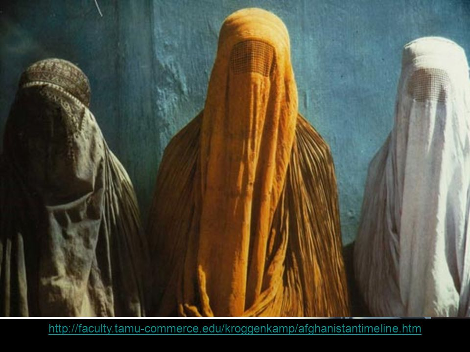 Women in Burkas Your Subtopics Go Here http://faculty.tamu-commerce.edu/kroggenkamp/afghanistantimeline.htm