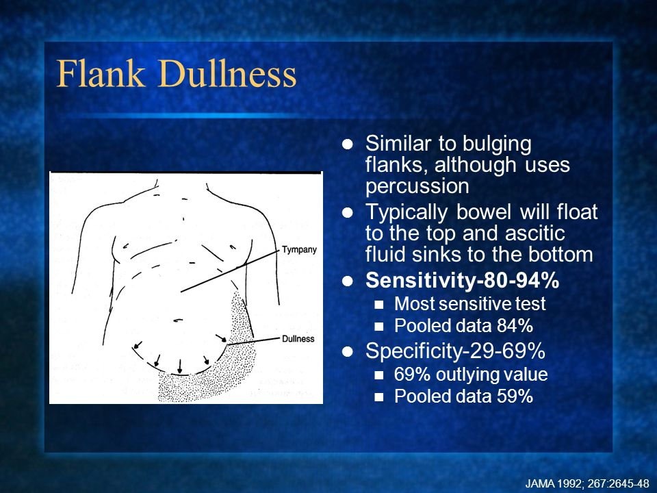 Flank Dullness Similar to bulging flanks, although uses percussion Typically bowel will float to the top and ascitic fluid sinks to the bottom Sensiti