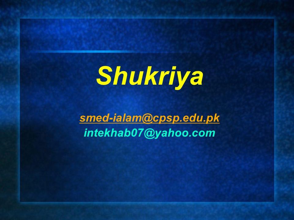 Shukriya smed-ialam@cpsp.edu.pk intekhab07@yahoo.com