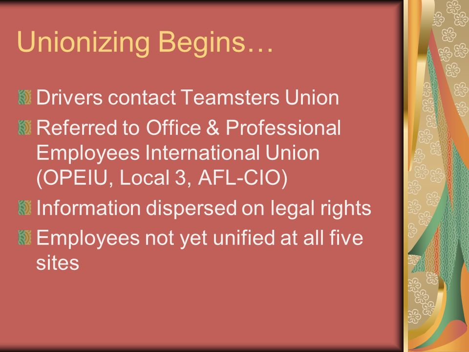 Unionizing Begins… Drivers contact Teamsters Union Referred to Office & Professional Employees International Union (OPEIU, Local 3, AFL-CIO) Information dispersed on legal rights Employees not yet unified at all five sites