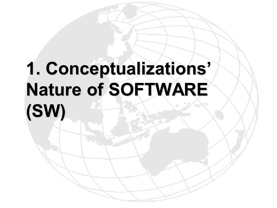 1. Conceptualizations Nature of SOFTWARE (SW)