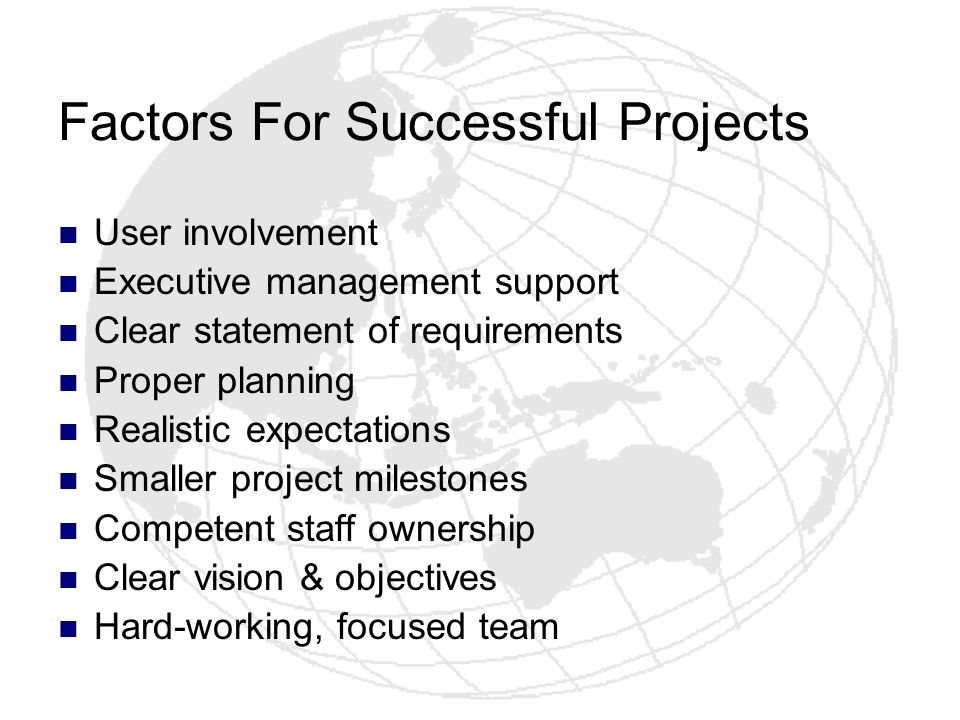Factors For Successful Projects User involvement Executive management support Clear statement of requirements Proper planning Realistic expectations S