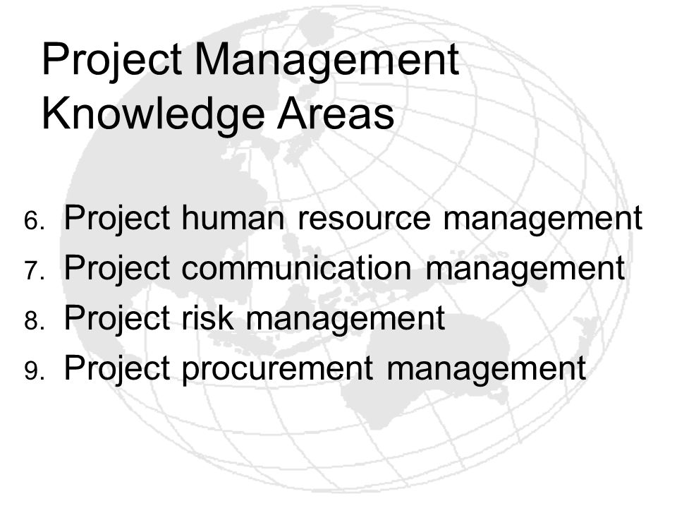 Project Management Knowledge Areas 6. Project human resource management 7. Project communication management 8. Project risk management 9. Project proc