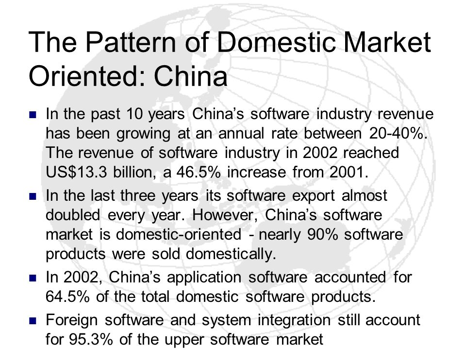The Pattern of Domestic Market Oriented: China In the past 10 years Chinas software industry revenue has been growing at an annual rate between 20-40%