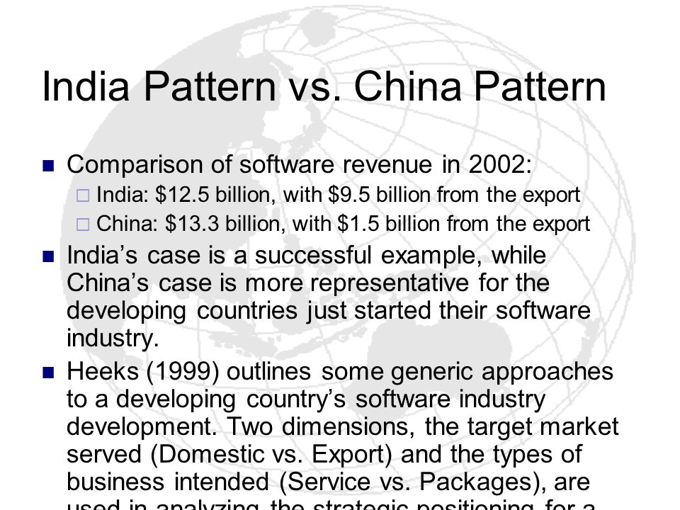 India Pattern vs. China Pattern Comparison of software revenue in 2002: India: $12.5 billion, with $9.5 billion from the export China: $13.3 billion,