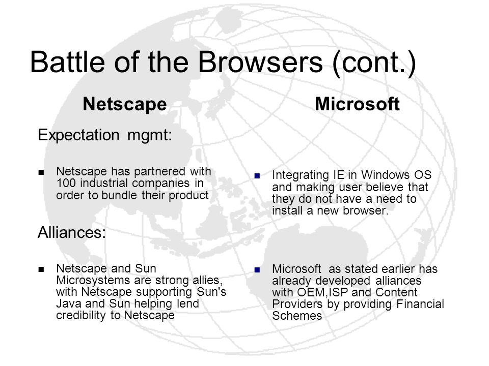 Battle of the Browsers (cont.) Expectation mgmt: Netscape has partnered with 100 industrial companies in order to bundle their product Netscape and Su