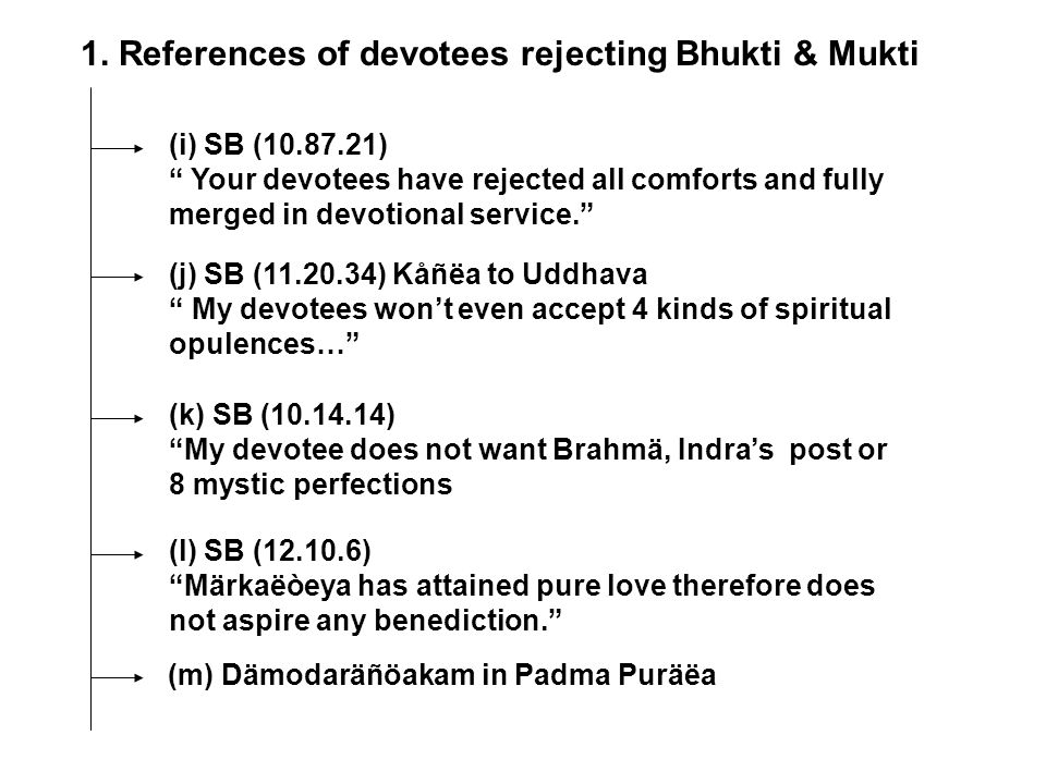 1. References of devotees rejecting Bhukti & Mukti (i) SB (10.87.21) Your devotees have rejected all comforts and fully merged in devotional service.