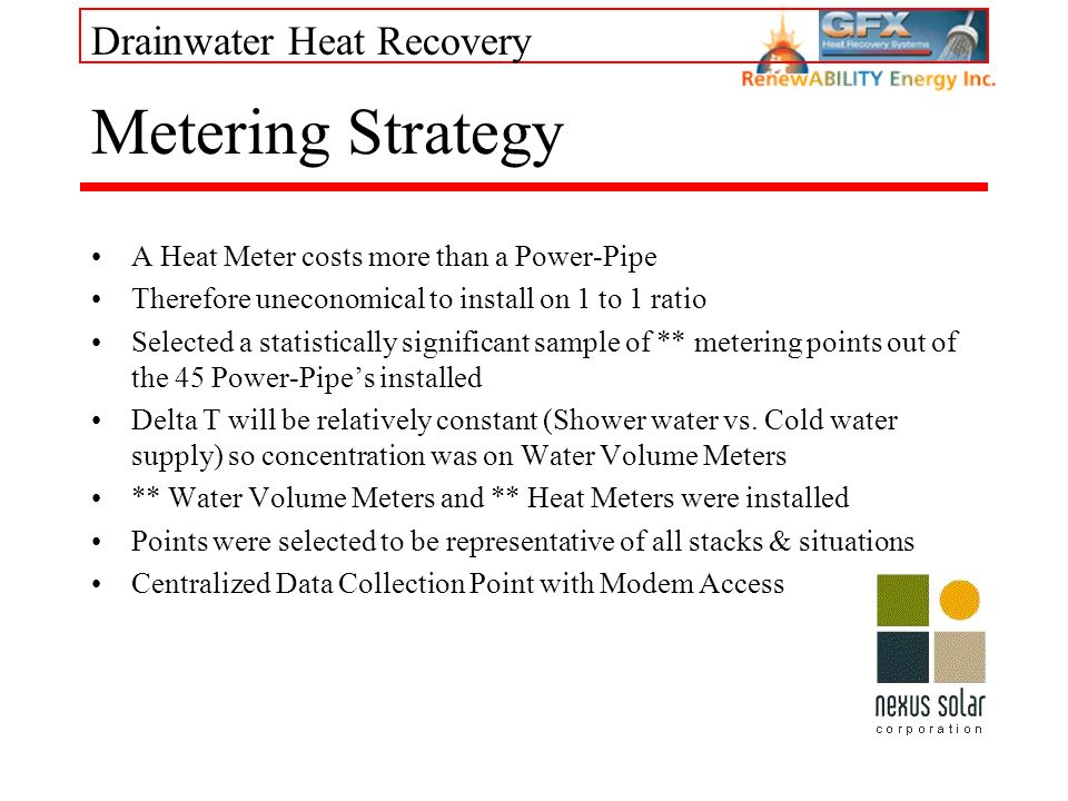Drainwater Heat Recovery Metering Strategy A Heat Meter costs more than a Power-Pipe Therefore uneconomical to install on 1 to 1 ratio Selected a stat