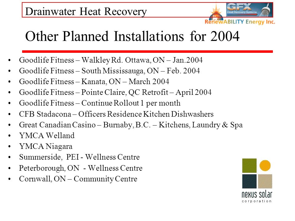 Drainwater Heat Recovery Other Planned Installations for 2004 Goodlife Fitness – Walkley Rd. Ottawa, ON – Jan.2004 Goodlife Fitness – South Mississaug
