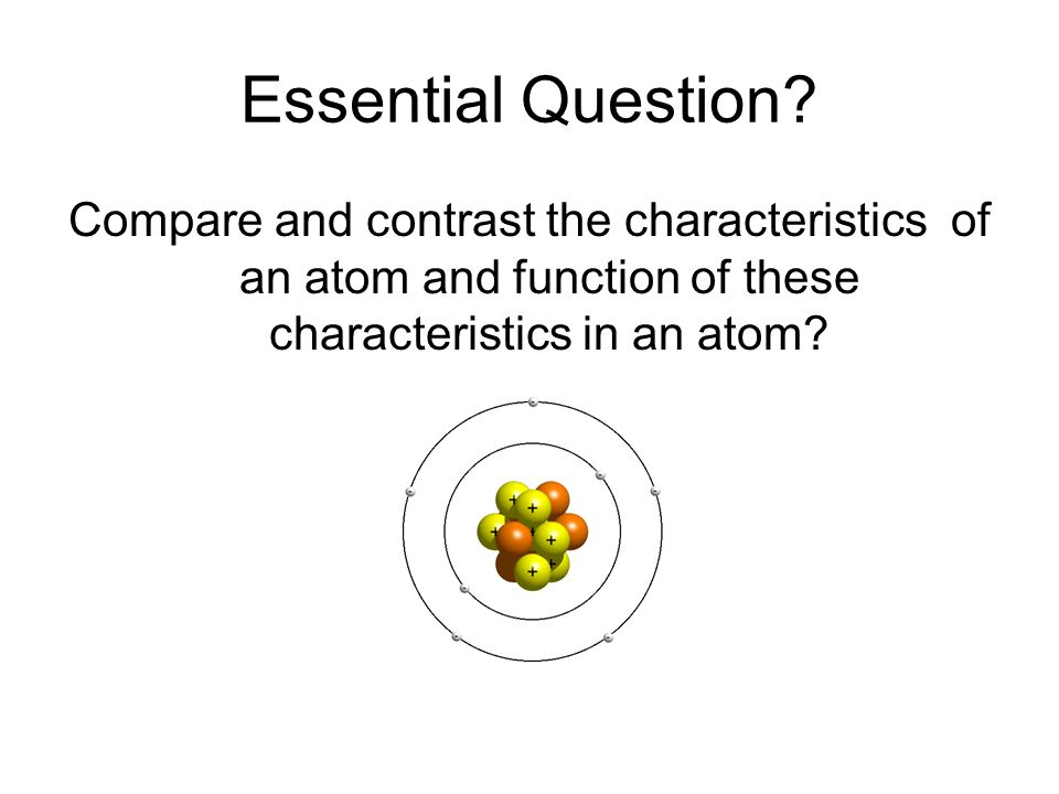 Essential Question? Compare and contrast the characteristics of an atom and function of these characteristics in an atom?