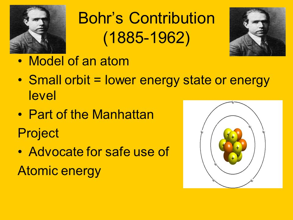 Bohrs Contribution (1885-1962) Model of an atom Small orbit = lower energy state or energy level Part of the Manhattan Project Advocate for safe use o