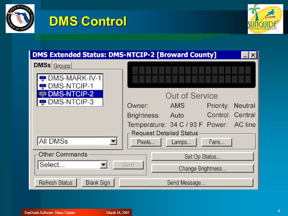 March 16, 2005SunGuide Software: Status Update 8 DMS Control