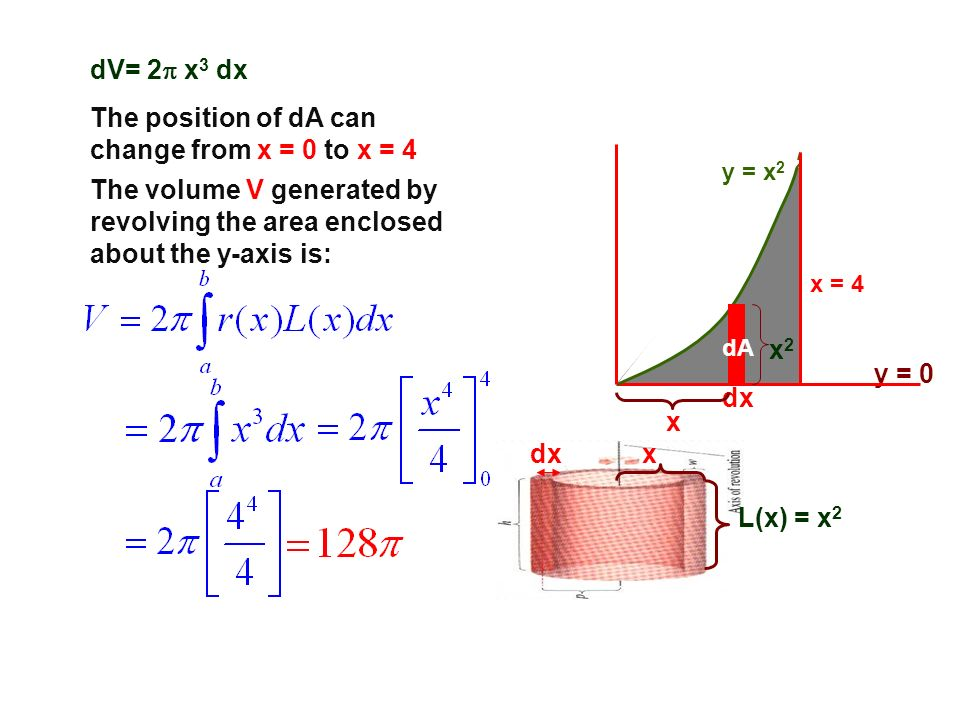 y = 0 x = 4 dx dA y = x 2 x 2 x L(x) = x 2 xdx dV= 2 x 3 dx The position of dA can change from x = 0 to x = 4 The volume V generated by revolving the
