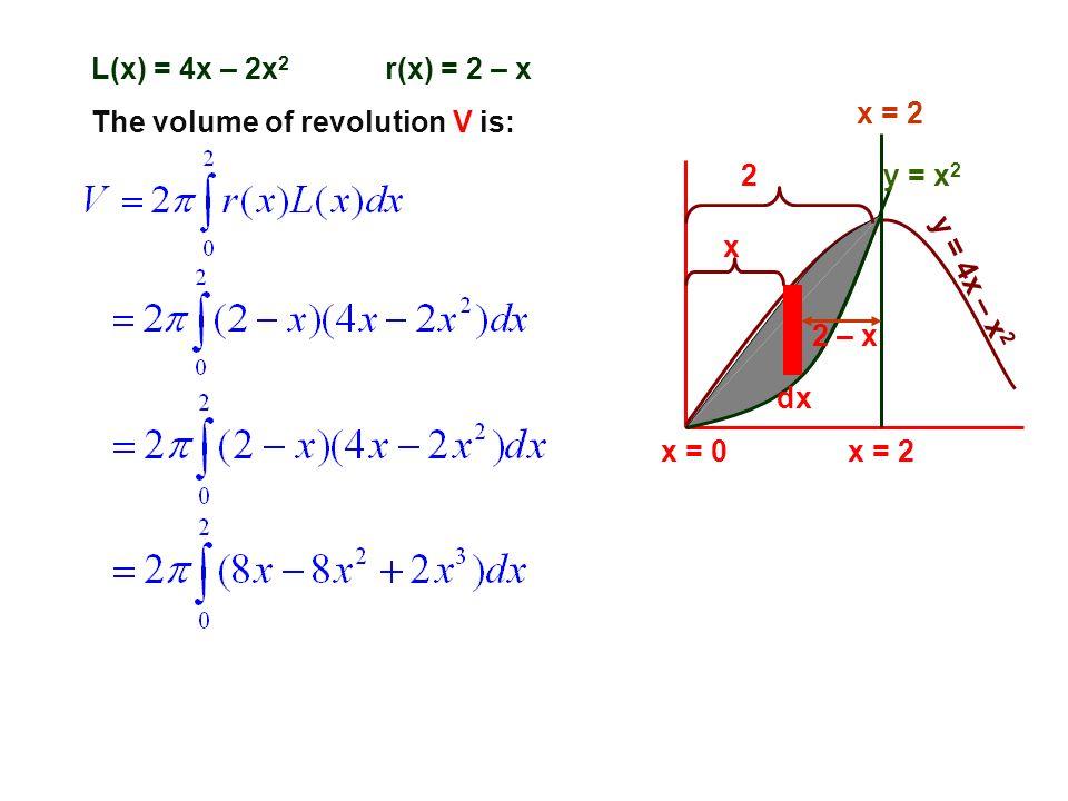 y = x 2 y = 4x – x 2 x = 2 x = 0x = 2 dx L(x) = 4x – 2x 2 The volume of revolution V is: x 2 2 – x r(x) = 2 – x