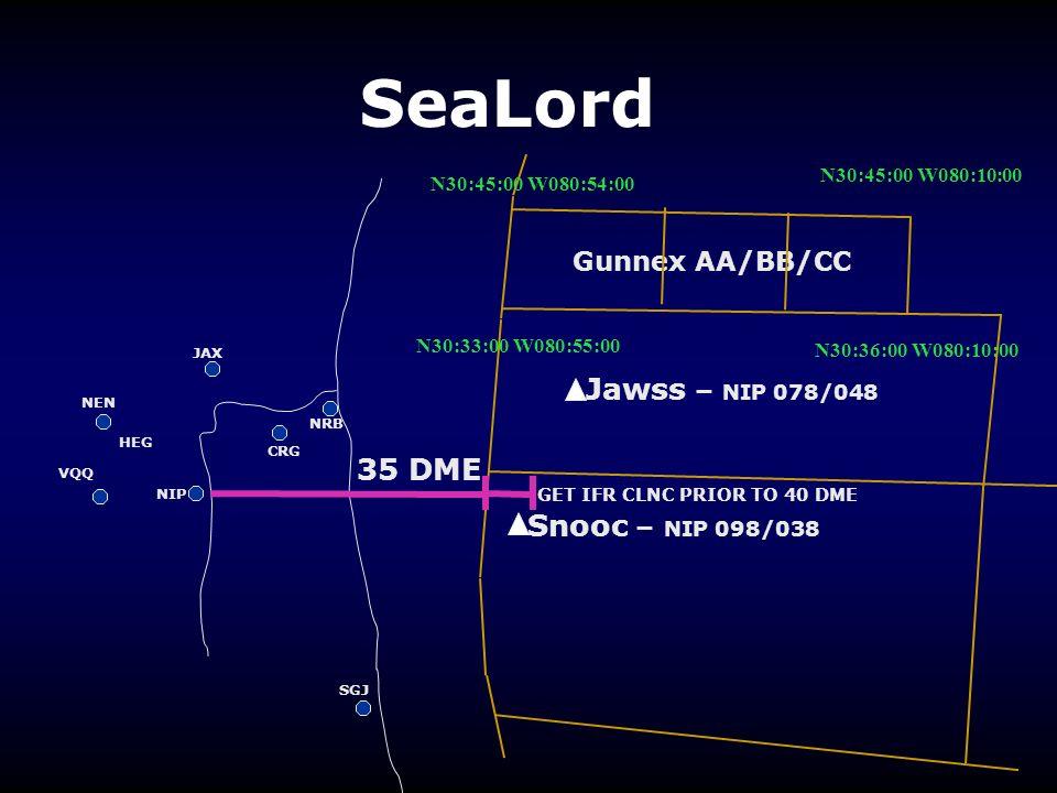 SeaLord NRB CRG NIP VQQ HEG NEN SGJ JAX Gunnex AA/BB/CC Jawss – NIP 078/048 Snooc – NIP 098/038 N30:45:00 W080:10:00 N30:45:00 W080:54:00 N30:33:00 W0