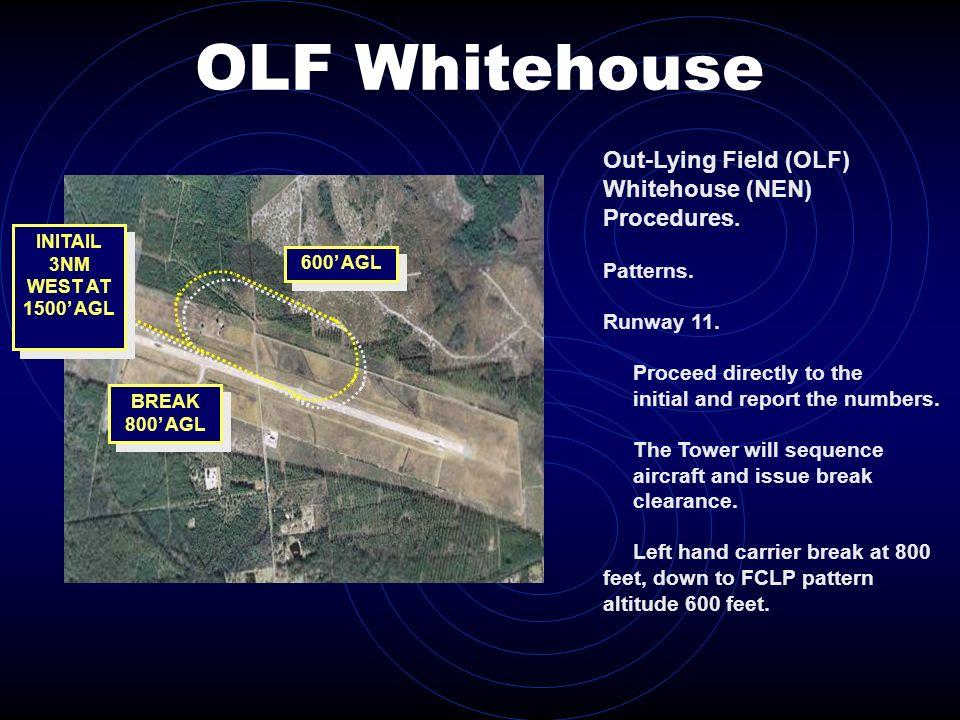 OLF Whitehouse 600 AGL BREAK 800 AGL INITAIL 3NM WEST AT 1500 AGL Out-Lying Field (OLF) Whitehouse (NEN) Procedures. Patterns. Runway 11. Proceed dire