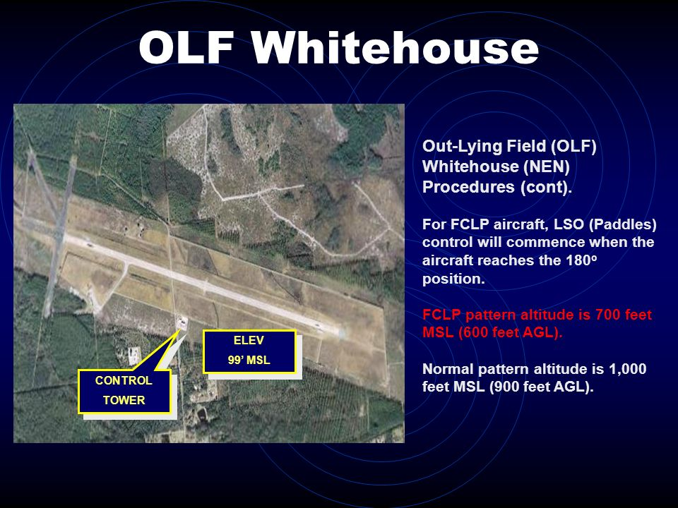 OLF Whitehouse CONTROL TOWER CONTROL TOWER ELEV 99 MSL ELEV 99 MSL Out-Lying Field (OLF) Whitehouse (NEN) Procedures (cont). For FCLP aircraft, LSO (P