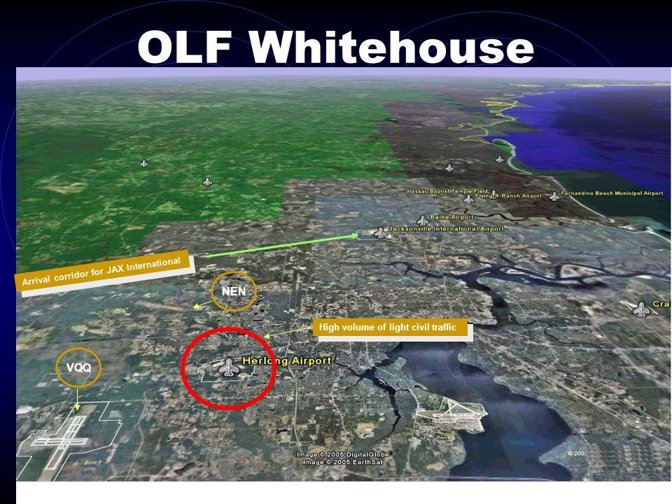 OLF Whitehouse VQQ NEN Arrival corridor for JAX International High volume of light civil traffic