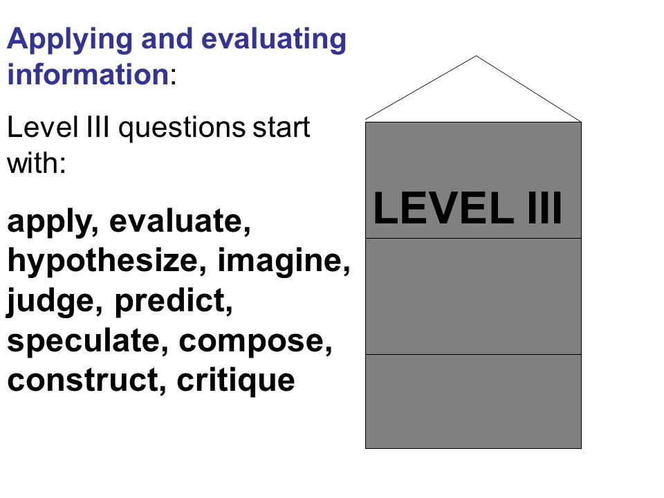 LEVEL III Applying and evaluating information: Level III questions start with: apply, evaluate, hypothesize, imagine, judge, predict, speculate, compo