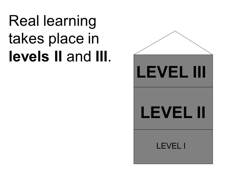 LEVEL II LEVEL III LEVEL I Real learning takes place in levels II and III.