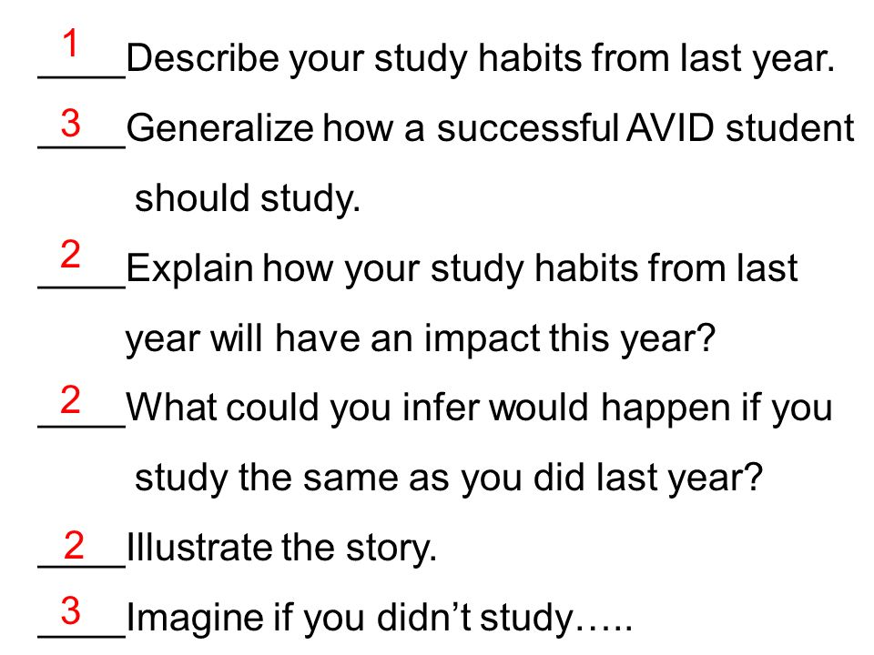 ____Describe your study habits from last year. ____Generalize how a successful AVID student should study. ____Explain how your study habits from last