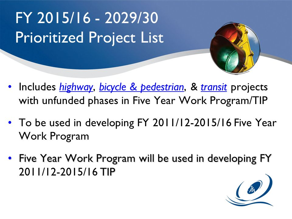 FY 2015/16 - 2029/30 Prioritized Project List Includes highway, bicycle & pedestrian, & transit projects with unfunded phases in Five Year Work Progra