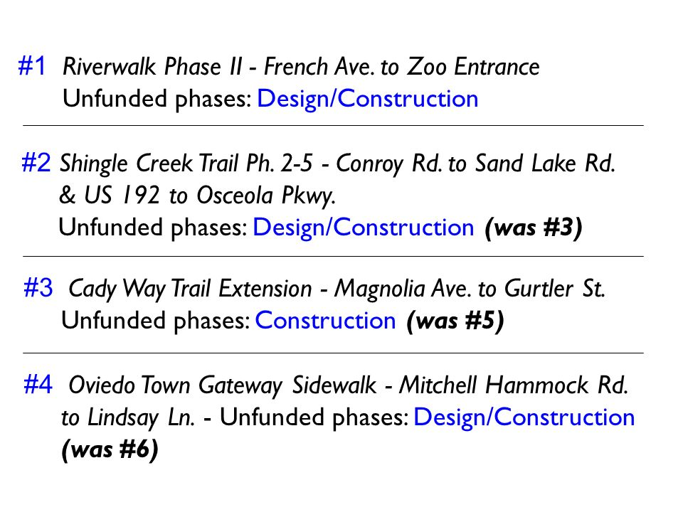 #1 Riverwalk Phase II - French Ave. to Zoo Entrance Unfunded phases: Design/Construction #2 Shingle Creek Trail Ph. 2-5 - Conroy Rd. to Sand Lake Rd.