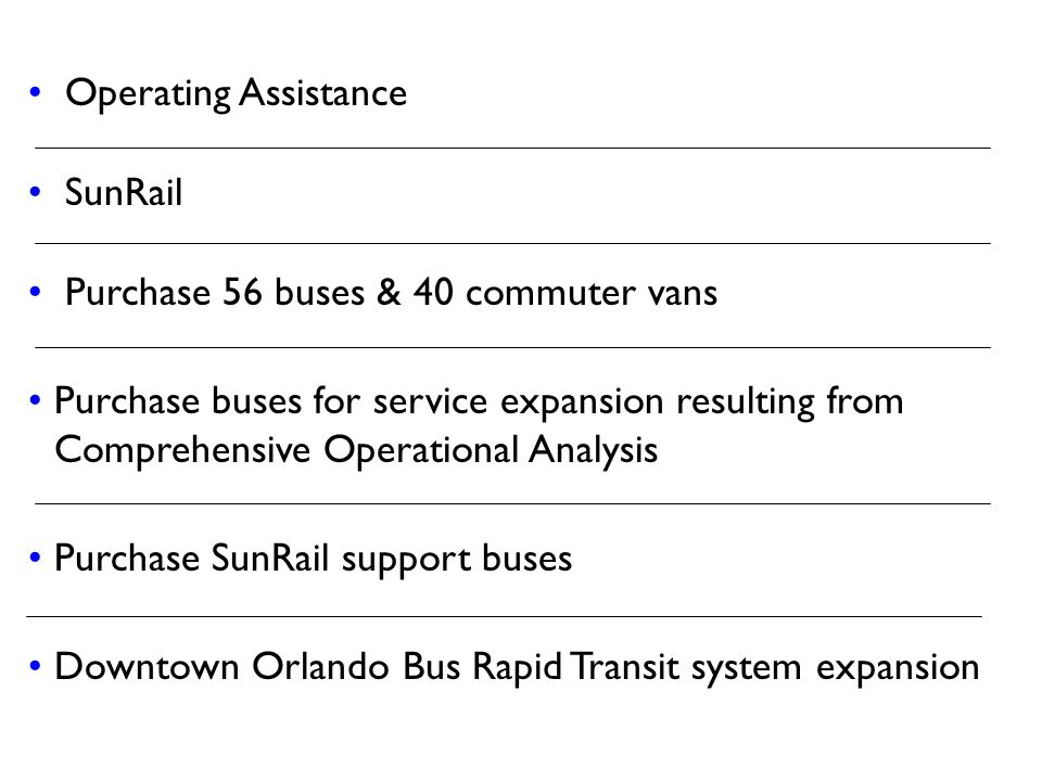 Operating Assistance SunRail Purchase 56 buses & 40 commuter vans Purchase buses for service expansion resulting from Comprehensive Operational Analys