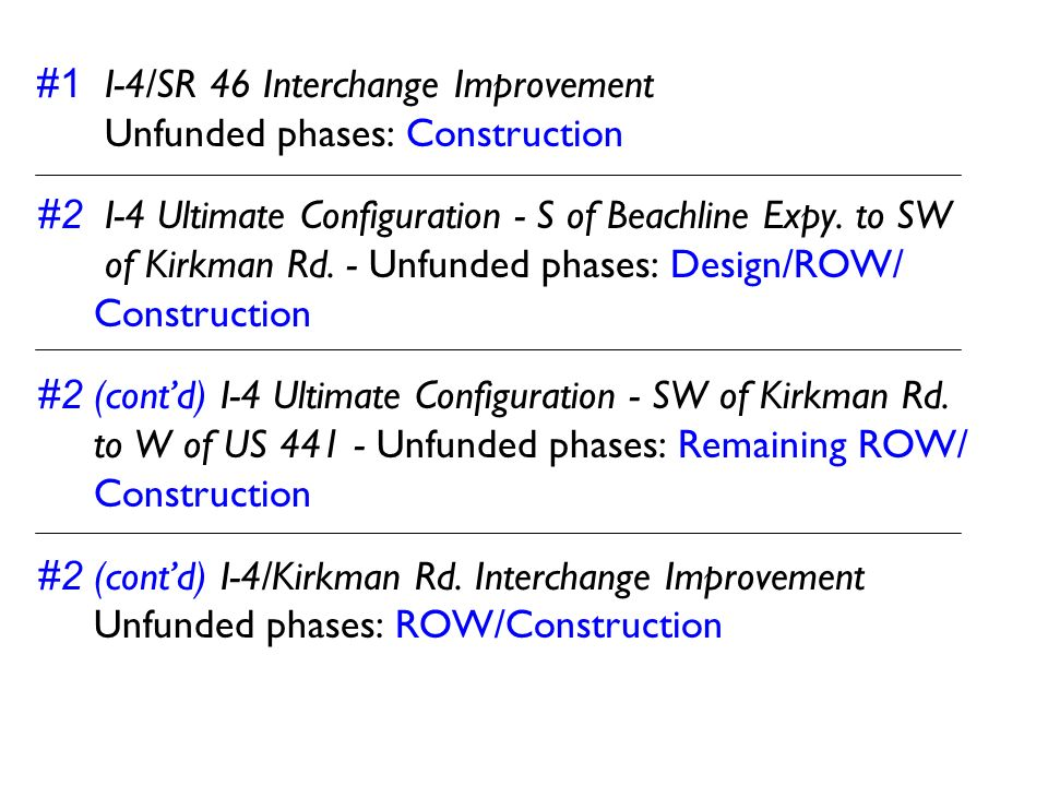 #1 I-4/SR 46 Interchange Improvement Unfunded phases: Construction #2 I-4 Ultimate Configuration - S of Beachline Expy. to SW of Kirkman Rd. - Unfunde