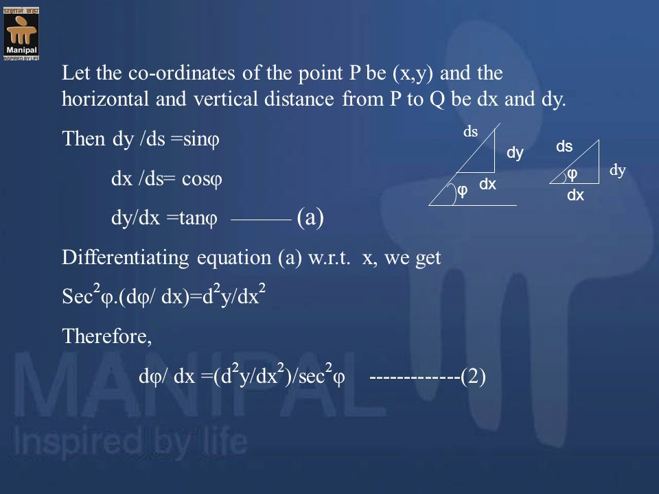 Let the co-ordinates of the point P be (x,y) and the horizontal and vertical distance from P to Q be dx and dy. Then dy /ds =sinφ dx /ds= cosφ dy/dx =