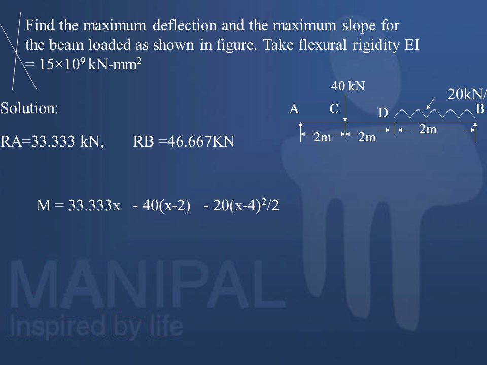 Find the maximum deflection and the maximum slope for the beam loaded as shown in figure. Take flexural rigidity EI = 15×10 9 kN-mm 2 2m AC D B 20kN/m