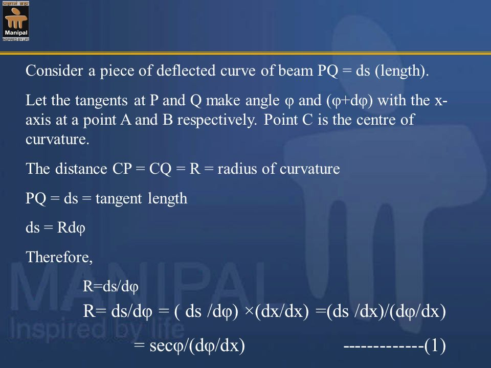 Q- (2 ) Determine the values of deflections at points C,D and E in the beam as shown in figure.Take E=2*10 5 MPa ; I= 60 *10 8 mm 4 1m2m 10kN/m 1m 20kN 30kN ACDEB [ C =0.0603mm(downward), D =0.0953mm(downward) E =0.0606mm(downward)] 47