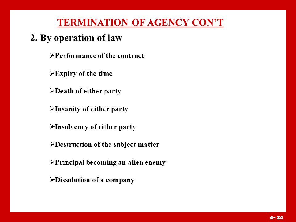 4- 23 TERMINATION OF AGENCY 1.By act of the parties Agreement Revocation by the principal Revocation by the agent