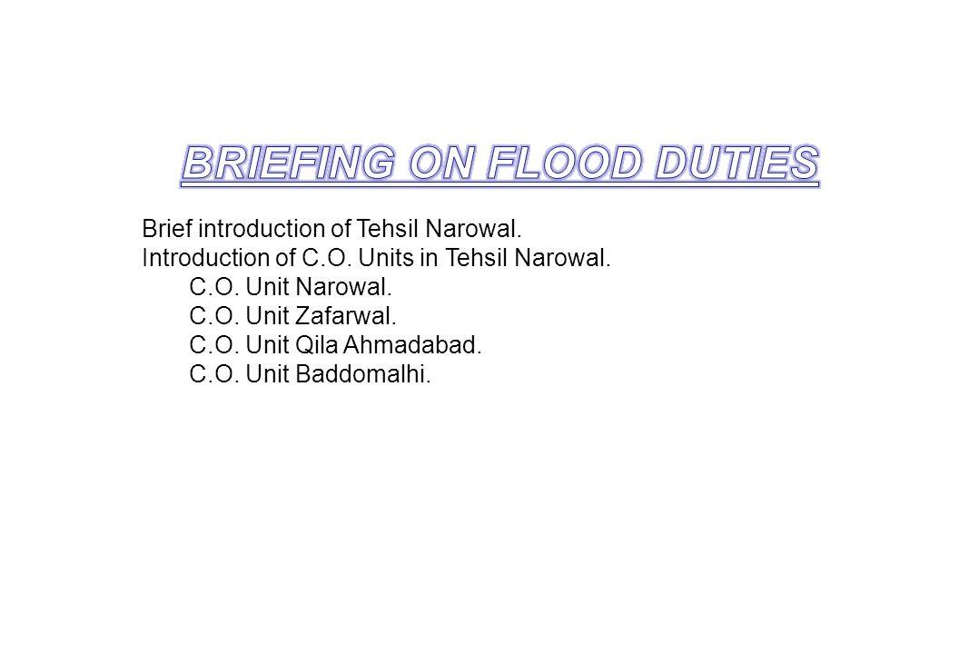 Brief introduction of Tehsil Narowal. Introduction of C.O. Units in Tehsil Narowal. C.O. Unit Narowal. C.O. Unit Zafarwal. C.O. Unit Qila Ahmadabad. C