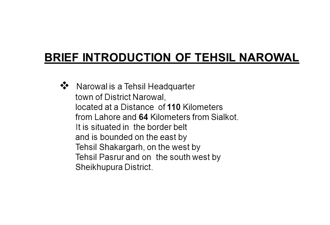 INTRODUCTIONS OF C.O.UNITS IN TEHSIL NAROWAL Tehsil Narowal Comprises of four C.O.