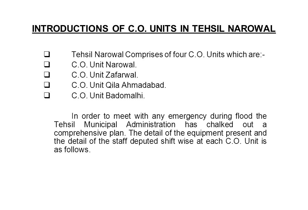 C.O.UNITS NAROWAL The following staff is deputed on emergency flood duty at the office of C.O.