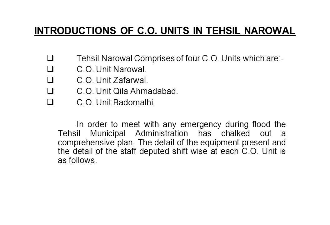 INTRODUCTIONS OF C.O. UNITS IN TEHSIL NAROWAL Tehsil Narowal Comprises of four C.O. Units which are:- C.O. Unit Narowal. C.O. Unit Zafarwal. C.O. Unit