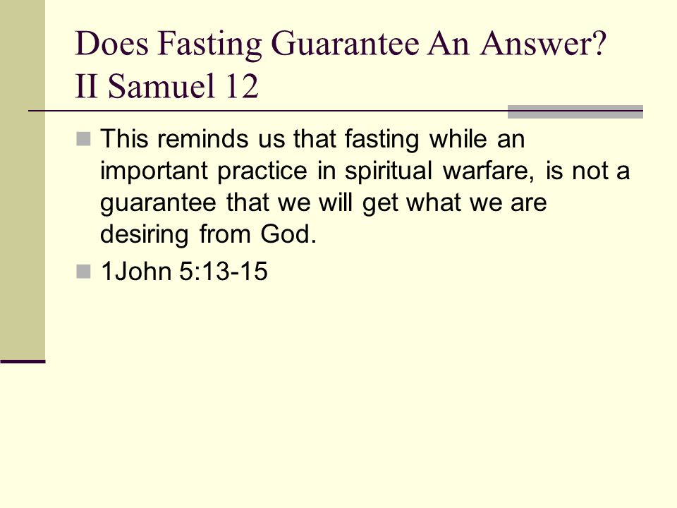 Does Fasting Guarantee An Answer.
