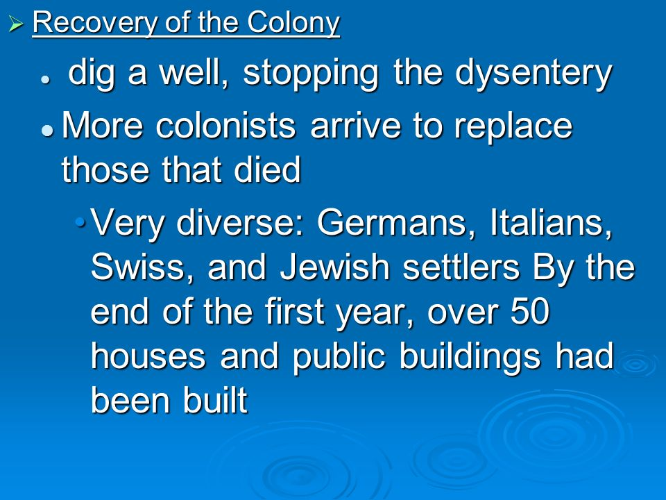 Recovery of the Colony Recovery of the Colony dig a well, stopping the dysentery dig a well, stopping the dysentery More colonists arrive to replace t
