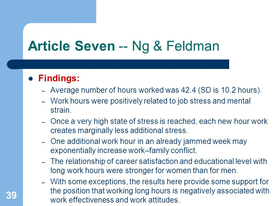 39 Article Seven -- Ng & Feldman Findings: – Average number of hours worked was 42.4 (SD is 10.2 hours). – Work hours were positively related to job s