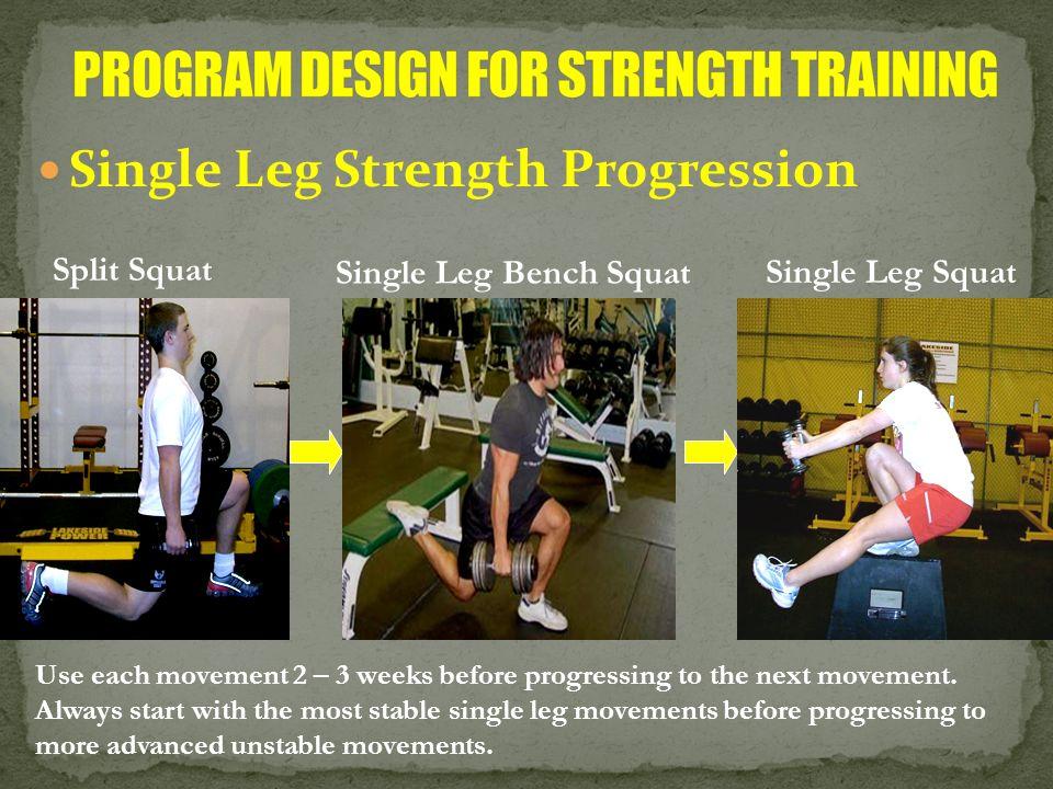 Single Leg Strength Progression Split Squat Single Leg Bench Squat Single Leg Squat Use each movement 2 – 3 weeks before progressing to the next movem