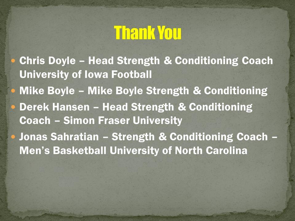 Chris Doyle – Head Strength & Conditioning Coach University of Iowa Football Mike Boyle – Mike Boyle Strength & Conditioning Derek Hansen – Head Stren