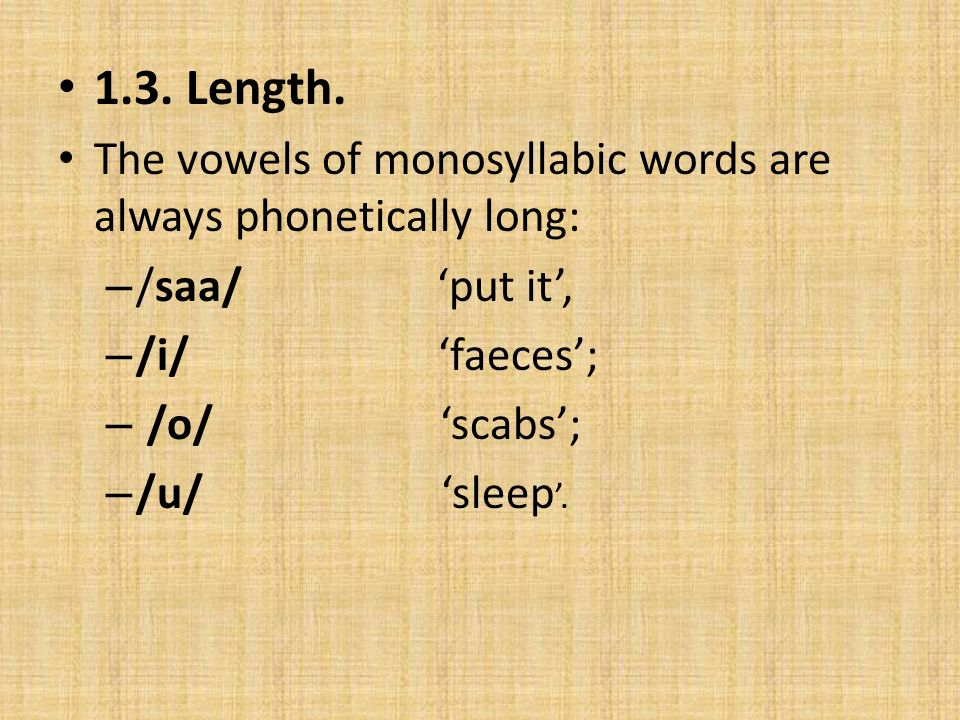 1.4.Syllable structure In the Kewabi language, the syllable patterns are V, VV, CV, and CVV.