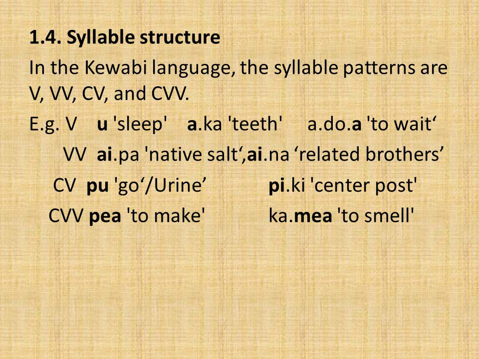 Stress In the Kewabi language, different syllables can be stressed.