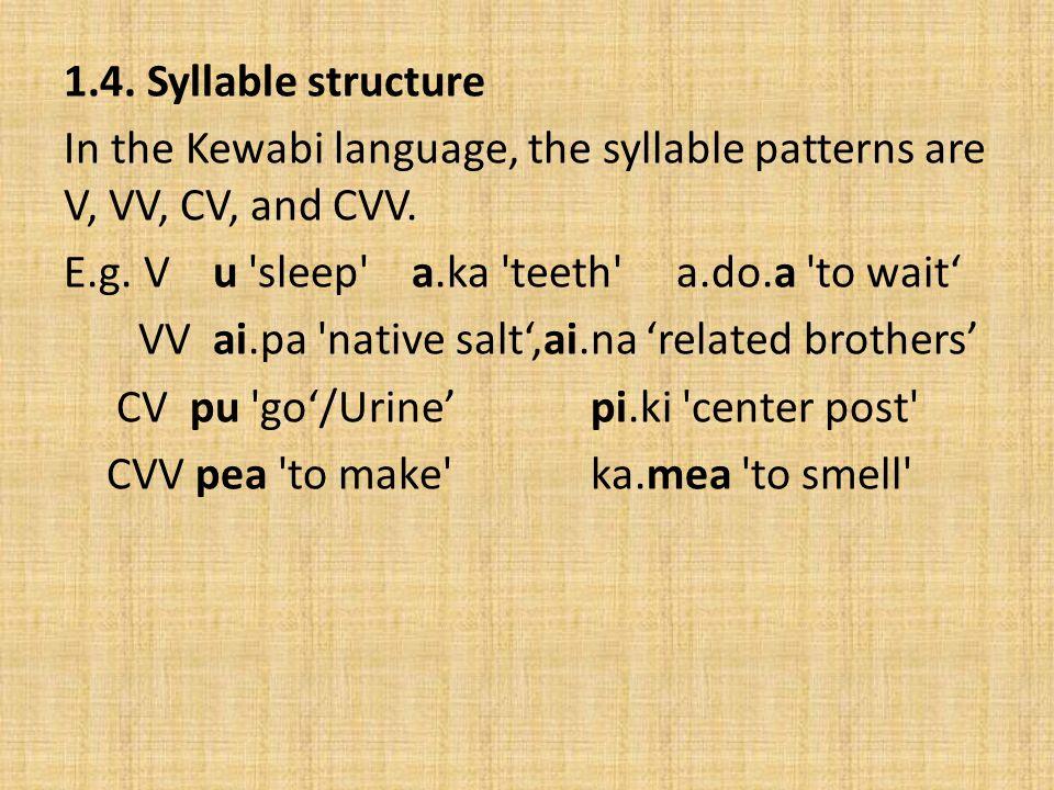 1.4. Syllable structure In the Kewabi language, the syllable patterns are V, VV, CV, and CVV. E.g. V u 'sleep' a.ka 'teeth' a.do.a 'to wait VV ai.pa '
